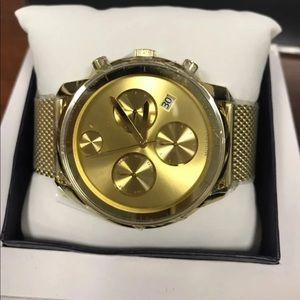 Movado bold watch unisex new in box gold